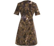 Woman Flared Printed Cotton-gabardine Mini Dress Army Green