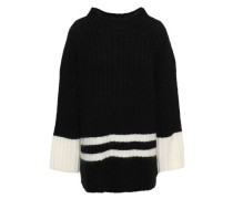 Striped Ribbed-knit Sweater Black