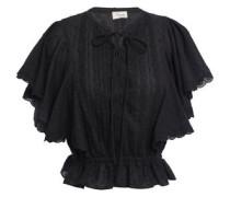 Beaux Lace-trimmed Pintucked Cotton-plumetis Blouse Black Size 14