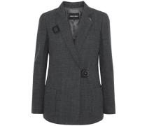 Stretch-wool Jacquard Blazer Dark Gray