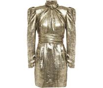 Cutout Gathered Silk-blend Lamé-jacquard Mini Dress Gold