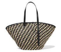 Fan Leather-trimmed Woven Straw Tote Black Size --