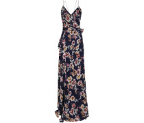 Wrap-effect Floral-print Silk-georgette Maxi Dress Navy Size 0