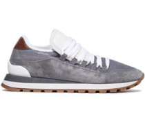 Woman Rubber-trimmed Metallic Mesh And Suede Sneakers Gray