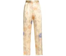 Floral-print silk-satin straight-leg pants