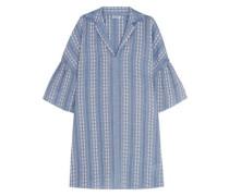 Embroidered cotton-jacquard mini dress