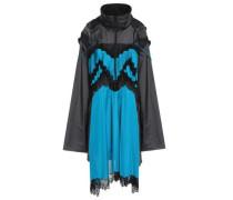 Paneled Shell, Jersey And Mesh Hooded Dress Azure
