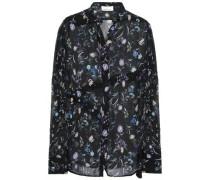 Floral-print Crinkled Silk-chiffon Shirt Black Size 0