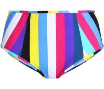 Striped high-rise bikini briefs