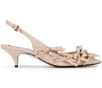 Woman Bow-detailed Patent-leather Slingback Pumps Antique Rose
