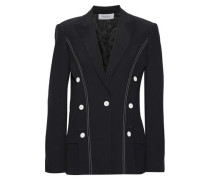 Button-detailed Washed-crepe Blazer Black