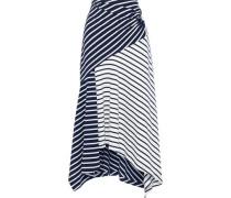 Asymmetric Striped Cotton-jersey Midi Skirt Midnight Blue