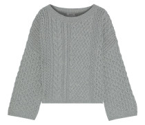 Woman Cable-knit Cotton-blend Sweater Gray