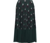 Hailey chiffon-paneled printed crepe de chine midi skirt
