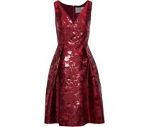 Pleated Brocade Dress Brick