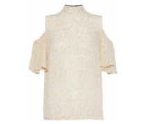 Cold-shoulder floral-print georgette top