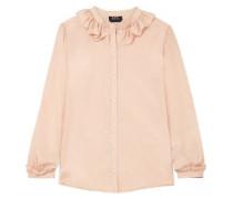 Ruffle-trimmed Cotton And Silk-blend Jacquard Shirt Blush