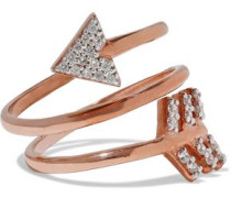 Spiral Arrow rose gold-plated sterling silver crystal ring