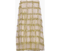 Tinsel-trimmed Tulle Midi Skirt Gold Size 12