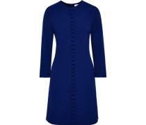 Woman Houston Button-embellished Crepe Mini Dress Royal Blue