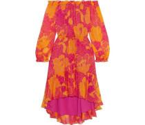 Camila Off-the-shoulder Printed Silk-chiffon Dress Fuchsia