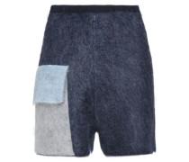 Color-block mohair-blend shorts