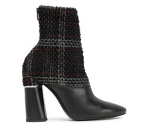 Drum Checked Bouclé-tweed And Leather Ankle Boots Black