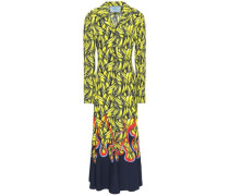 Printed Twill Midi Shirt Dress Yellow