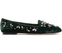 Grosgrain-trimmed embellished velvet slippers