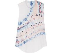 Tie-dye cotton-blend jersey tank