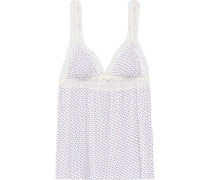 Flora Ditsy Point D'esprit-trimmed Printed Stretch-modal Camisole Ivory