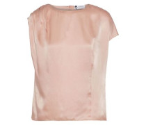 Pleated Hammered Silk-satin Blouse Blush