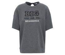 Appliquéd Printed Stretch-cotton Jersey T-shirt Dark Gray
