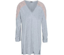 Lace-trimmed Mélange Cotton-blend Jersey Pajama Top Light Gray
