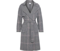 Woman Lynnae Double-breasted Prince Of Wales Checked Wool-blend Trench Coat Black