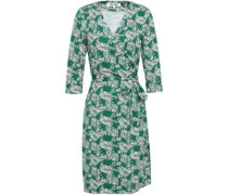 Printed Silk And Cotton-blend Jersey Wrap Dress Green Size 0