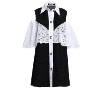 Cold-shoulder two-tone broderie anglaise mini shirtdress