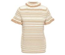 Metallic Striped Wool-blend Jacquard-knit Top Gold