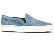 Snake-effect leather slip-on sneakers