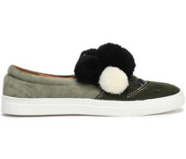 Karita Embellished Suede And Crochet-knit Slip-on Sneakers Forest Green