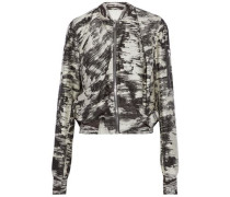 Draped printed cotton and silk-blend jacket