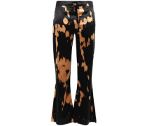 Tie-dyed Satin Kick-flare Pants Black