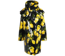 Ruffled printed coated-cotton hooded raincoat