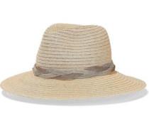 Chain-trimmed Hemp-blend Panama Hat Beige Size ONESIZE