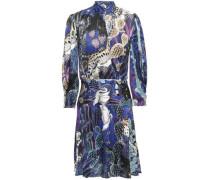 Printed Satin Mini Dress Royal Blue