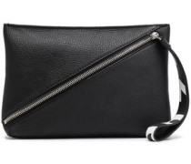 Textured-leather Clutch Black Size --