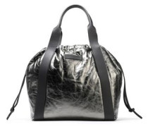 Metallic leather tote