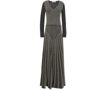 Metallic-trimmed Stretch-knit Gown Black