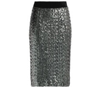 Velvet-trimmed sequined mesh skirt