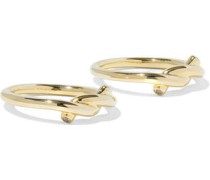 Set of two gold-tone crystal rings